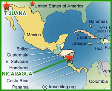 Map of Where Responsibility Teaches - Mexico and Nicaragua