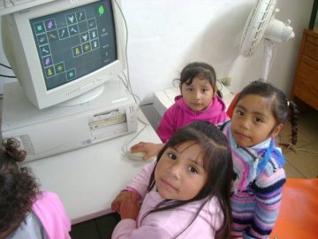 3 girls on a computer at Responsibility
